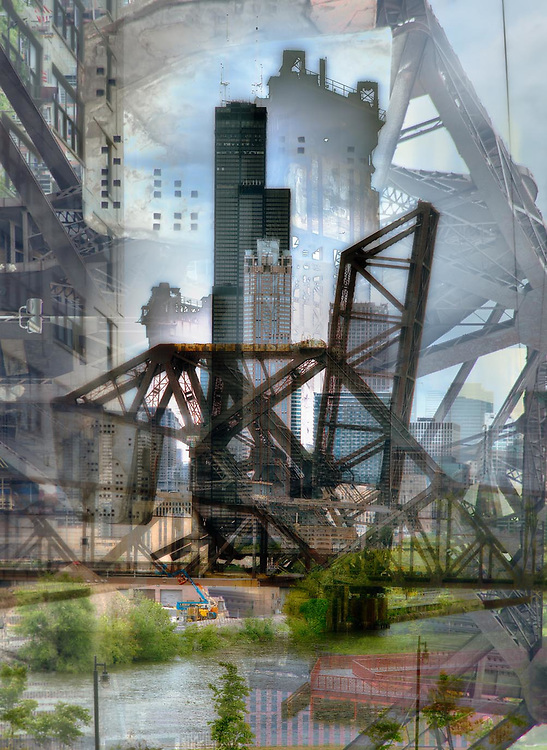 Chicago, Industrial, river, train yards, hard work. Photographic digital abstract image. Geometrispective.