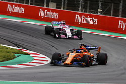 May 13, 2018 - Barcelona, Catalonia, Spain - 14 Fernando Alonso from Spain with McLaren Renault MCL33 in front of 31 Esteban Ocon from France Force India F1 VJM11 during the Spanish Formula One Grand Prix at Circuit de Catalunya on May 13, 2018 in Montmelo, Spain. (Credit Image: © Xavier Bonilla/NurPhoto via ZUMA Press)