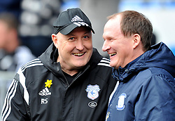 Cardiff City Manager Russell Slade talks with Preston North End Manager Simon Grayson - Mandatory by-line: Paul Knight/JMP - Mobile: 07966 386802 - 27/02/2016 -  FOOTBALL - Cardiff City Stadium - Cardiff, Wales -  Cardiff City v Preston North End - Sky Bet Championship