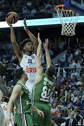 February 24, 2017 - Madrid, Madrid, Spain - Trey Thompkins  of Real Madrid during the 2016/2017 Turkish Airlines Euroleague Regular Season Round 23 game between Real Madrid and Darussafaka Dogus Istanbul at Barclaycard Center on February 24, 2017 in Madrid, Spain. (Credit Image: © Oscar Gonzalez/NurPhoto via ZUMA Press)