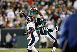 Philadelphia Eagles wide receiver Jeremy Maclin gets his hands on a pass during the NFL game between the Denver Broncos and the Philadelphia Eagles on December 27th 2009. The pass was incomplete and the Eagles won 30-27 at Lincoln Financial Field in Philadelphia, Pennsylvania. (Photo By Brian Garfinkel)
