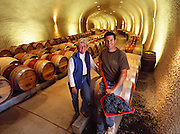 Betty O'Shaughnessy and her winemaker in the new caves aging rooms. MODEL RELEASED. Napa Valley, California.