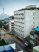 17 JUNE 2015 - SUNGAI KOLOK, NARATHIWAT, THAILAND:  A closed hotel in Sungai Kolok. Sungai Kolok is on the Malaysian border and is infamous in Malaysia as a place where Malaysian men can go to hire Thai prostitutes. Muslim separatists in Thailand have attacked brothels and karaoke parlors. Many of those businesses have closed in recent months because the separatist attacks have scared off Malaysian sex tourists.      PHOTO BY JACK KURTZ