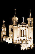 Fourvière Basilica at night, Lyon, France (UNESCO World Heritage Site)
