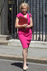 Downing Street, London, July 19th 2016. Environment, food and Rural Affairs Secretary Andrea Leadsom leaves the first full cabinet meeting since Prime Minister Theresa May took office.