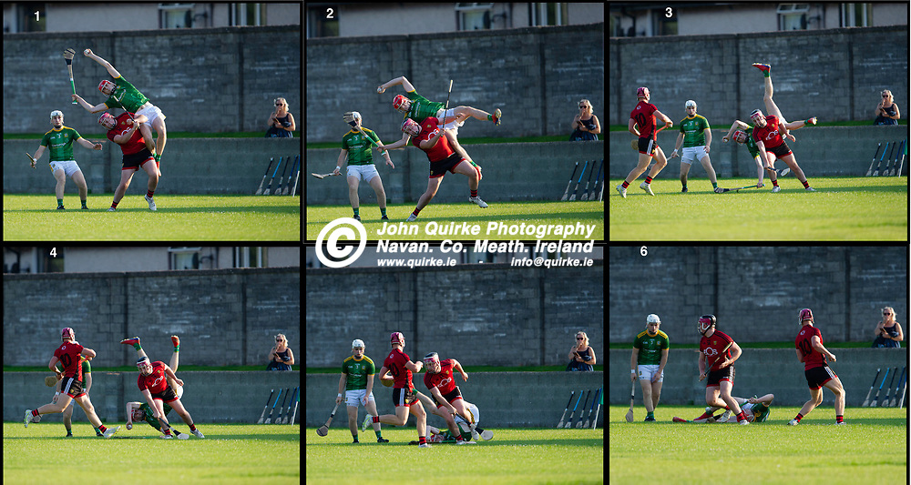 20-07-21. Meath v Down - All-Ireland U-20 B (Richie McElligott Cup) Semi-Final at Clan na Gael, Dundalk.<br /> Sequence of James Murray, Meath making a spectacular catch but suffering a heavy fall  against Down in the All-Ireland U-20 B (Richie McElligott Cup) Semi-Final.<br /> Photo: John Quirke / www.quirke.ie<br /> ©John Quirke Photography, 16 Proudstown Road, Navan. Co. Meath. (info@quirke.ie / 046-9028461 / 087-2579454).