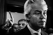 Brussels Belgium 2017 3 november Right wing  anti islam politicians Geert Wilders (PVV) (NL) en Filip Dewinter (Vlaams Belang)(BE) speak to the press at the Belgian Federal Parliament during a pressconference. They were supposed to visit the Molenbeek community for an ISlam Safari but this was forbidden by the Mayor of Molenbeek.