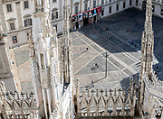Milan, view of the Piazza del Duomo from the Duomo rooftop