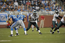 DETROIT - SEPTEMBER 19: Tackle Winston Justice #74 of the Philadelphia Eagles blocks during the game against the Detroit Lions on September 19, 2010 at Ford Field in Detroit, Michigan. (Photo by Drew Hallowell/Getty Images)  *** Local Caption *** Winston Justice