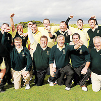 16 September 2011; The team from Woodstock Golf Club, Co. Clare, back row left-right, Jimmie Kelly, Liam McInerney, Jason Considene, Shane Fitzgerald, Martin Dormer, Brian Mulcahy, and Team Captain Eoghan O'Loughlin, front row left-right, Robbie Dormer, assistant team Captain, Frank Doherty, Mike Kelly, Declan Coote, Tom Hehir, and Michael O'Brien after winning the Pierce Purcell Shield Final against Corrstown Golf Club, Co Dublin. Chartis Insurance Ireland Cups and Shields Finals 2011, Castlerock Golf Club, Co. Derry. Picture credit: Oliver McVeigh/ SPORTSFILE *** NO REPRODUCTION FEE ***