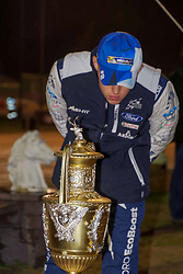 October 26, 2017 - Deeside, Wales, United Kingdom - 2 Ott Tanak (EST) and co-driver Martin Jarveoja (EST) of M-Sport inspects the Rally GB trophy on display prior to the Rally GB round of the 2017 FIA World Rally Championship. (Credit Image: © Hugh Peterswald/Pacific Press via ZUMA Wire)