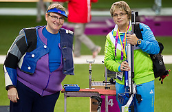 Damjan Pavlin of Slovenia and coach Polonca Sladic after the Men's R5-10m Air Rifle Prone shooting Final during Day 4 of the Summer Paralympic Games London 2012 on September 1, 2012, in Royal Artillery Barracks, London, Great Britain. (Photo by Vid Ponikvar / Sportida.com)