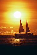 Catamaran at sunset Waikiki, Oahu, Hawaii