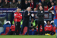 Alan Pardew, the Crystal Palace manager shouting from the touchline.Barclays Premier League match, Crystal Palace v Swansea city at Selhurst Park in London on Monday 28th December 2015.<br /> pic by John Patrick Fletcher, Andrew Orchard sports photography.