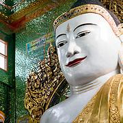 Buddha statue at Soon Oo Pon Nya Shin Pagoda. Sitting on top of Nga-pha Hill, Soon Oo Pon Nya Shin Pagoda is one of multiple pagodas and temples in the religious district of Sagaing, near Mandalay. The original pagoda dates to 674.