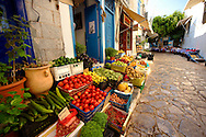 Fruit shop in the narrow streets & houses of Hydra, Greek Saronic Islands .<br /> <br /> Visit our GREEK HISTORIC PLACES PHOTO COLLECTIONS for more photos to download or buy as wall art prints https://funkystock.photoshelter.com/gallery-collection/Pictures-Images-of-Greece-Photos-of-Greek-Historic-Landmark-Sites/C0000w6e8OkknEb8