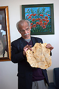 Israel, West Bank, Mount Gerizim, Samaritan Passover Sacrifice ceremony The matzah unleavened bread