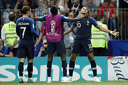 (l-r) Antoine Griezmann of France, Kylian Mbappe of France during the 2018 FIFA World Cup Russia Final match between France and Croatia at the Luzhniki Stadium on July 15, 2018 in Moscow, Russia