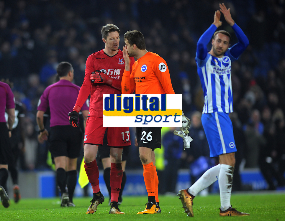 Football - 2017 / 2018 FA Cup - Third Round: Brighton & Hove Albion vs. Crystal Palace<br /> <br /> Crystal Palace goalkeeper tells fellow goalkeeper Tim Krul of Brighton that Glenn Murray (right),put the ball in the net with his arm at The Amex.<br /> <br /> COLORSPORT/ANDREW COWIE