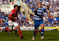 Photo: Alan Crowhurst.<br />Reading v Crewe Alexandra. Coca Cola Championship.<br />17/09/2005. Kevin Doyle (R) of Reading escapes the marking of Chris McCready.