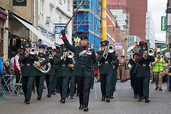 May 20, 2017 - Maidstone, Kent. Serving and veteran soldiers from the 36 Engineer Regiment join in the Civic & Freedom Parade today in Maidstone, Kent. They will be accompanied by the Queens Gurkha Engineers and the Band of the Brigade of Gurkhas. (Credit Image: © Manu Palomeque/London News Pictures via ZUMA Wire)