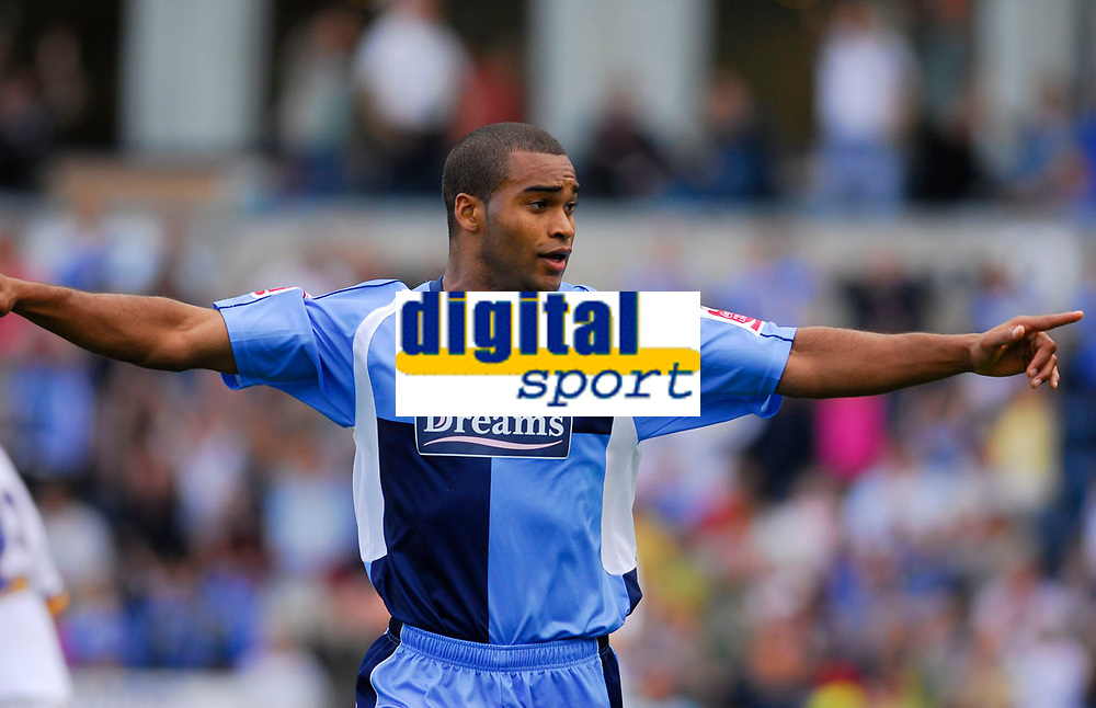 Photo: Leigh Quinnell.<br /> Wycombe Wanderers v Shrewsbury. Coca Cola League 2. 22/09/2007. Wycombes Jermaine Easter celebrates but his goal is not given.