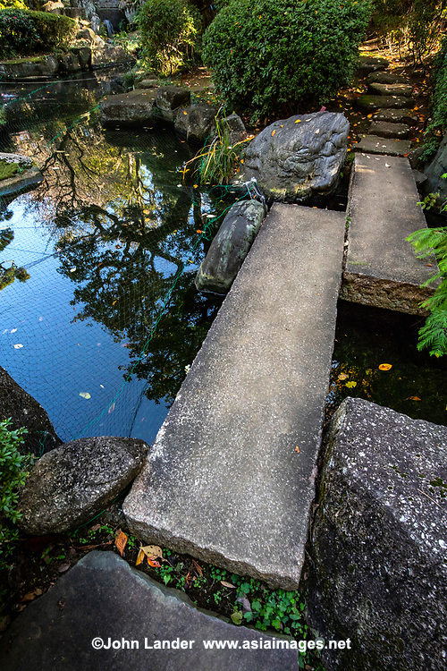 TheSanbancho Chamber is a national conference hallbuilt where the estate ofYamagata Ari oncestood.  It is now in the grounds of the Ministry of Agriculture Annex, and is only open during auturmn for fall colors and April for its cherry blossoms. To commemorate Emperor Meiji's visit to the garden, there is a stone monument carved by Yamagata himself.  It was designed by Showa architect Hiroshi Oe who also helped with the construction of the National Noh theater and Ise Shrine.