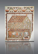 Roman mosaic of an early Christian Basilica from the Eastern Mediterranean, late 5th century AD. Marble blocks, limestone, sandstone and terracotta. The church has three naves and is represented in a 'flattened Perspective' as can be seen by the facade and along sides forming a straight continuous line. The side wall is deliberately open to make the interior visible . Inv 3677, Louvre Museum, Paris .<br /> <br /> If you prefer to buy from our ALAMY PHOTO LIBRARY  Collection visit : https://www.alamy.com/portfolio/paul-williams-funkystock/roman-mosaic.html - Type -   Louvre    - into the LOWER SEARCH WITHIN GALLERY box. Refine search by adding background colour, place, museum etc<br /> <br /> Visit our ROMAN MOSAIC PHOTO COLLECTIONS for more photos to download  as wall art prints https://funkystock.photoshelter.com/gallery-collection/Roman-Mosaics-Art-Pictures-Images/C0000LcfNel7FpLI .