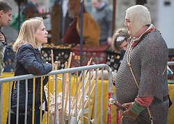 19/04/2014.  Members of the Regla Ang Lorum medieval re enactment society entertained shoppers in Birmingham city centre this morning.  The display was part of the annual St Georges Day celebration.  Photo credit: Alison Baskerville/LNP
