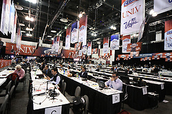 Oct. 19, 2016 - Las Vegas, Nevada, U.S. - Media make their way into the spin room at UNLV Wednesday. Today will be the third and final presidential debate between Republican presidential nominee Donald Trump and Democratic presidential nominee Hillary Clinton at Las Vegas Nevada University. (Credit Image: © Gene Blevins via ZUMA Wire)