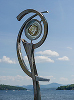 Lovers' Light made by Stephen Hayden of Meredith overlooks Meredith Bay as part of the Scuplture Walk.  (Karen Bobotas/for the Laconia Daily Sun)