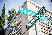 Corner of Beach and Broadway Ave Street Sign in Laguna Beach California