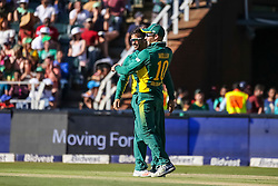 JP Duminy of SAcelebrates a wicket with David Miller during the 2nd ODI match between South Africa and Australia held at The Wanderers Stadium in Johannesburg, Gauteng, South Africa on the 2nd October  2016<br /> <br /> Photo by Dominic Barnardt/ RealTime Images