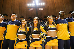 Jan 6, 2018; Morgantown, WV, USA; West Virginia Mountaineers cheerleaders celebrate after beating the Oklahoma Sooners at WVU Coliseum. Mandatory Credit: Ben Queen-USA TODAY Sports