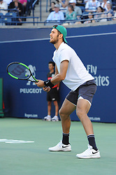August 10, 2018 - Toronto, ON, Canada - Russian professional tennis player, Karen Khachanov in action in his quarter-final match in the Rogers Cup tennis tournament in Toronto, Canada. (Credit Image: © Mike Mastrandrea via ZUMA Wire)