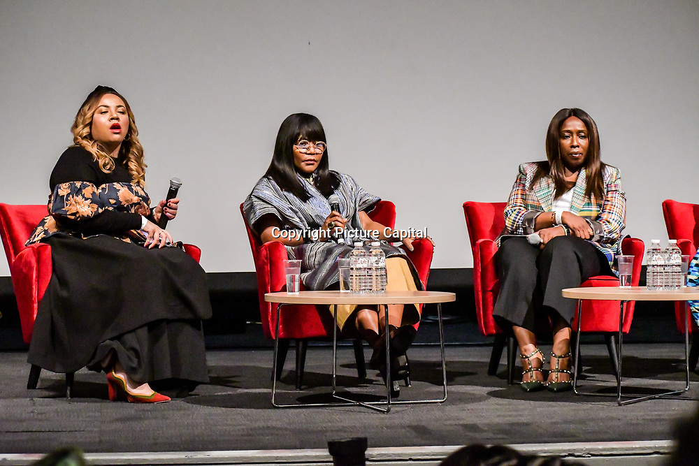 Speakers Ezzie Chidi-Ofong, Reni Folawiyo and Yvonne Fasinro at The Business of African Fashion at WISH Africa Expo, a showcase of Pan-Africanism at Olympia Conference Centre on 9 June 2019, London, UK.