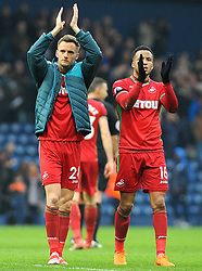 Andy King and Martin Olsson of Swansea City thank fans at the full time whistle - Mandatory by-line: Nizaam Jones/JMP - 07/04/2018 - FOOTBALL - The Hawthorns - West Bromwich, England- West Bromwich Albion v Swansea City - Premier League