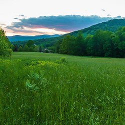 After sunset at a hay field in Jackson, New Hampshire. White Mountains.
