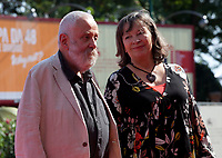 Marion Bailey and Director Mike Leigh<br /> at the premiere gala screening of the film Peterloo at the 75th Venice Film Festival, Sala Grande on Saturday 1st September 2018, Venice Lido, Italy.