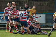 James Bentley (Bradford Bulls) scores Bradford Bulls' second try of the game 8-6 to the visitors during the Kingstone Press Championship match between Oldham Roughyeds and Bradford Bulls at Bower Fold, Oldham, United Kingdom on 2 April 2017. Photo by Mark P Doherty.