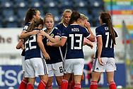 Kim Little (#8) of Scotland congratulates Erin Cuthbert (#22) of Scotland on scoring Scotland's first goal (1-1) during the FIFA Women's World Cup UEFA Qualifier match between Scotland Women and Belarus Women at Falkirk Stadium, Falkirk, Scotland on 7 June 2018. Picture by Craig Doyle.