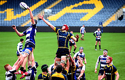 James Scott (Malvern College) of Worcester Warriors U18 challenges for a line out  - Mandatory by-line: Robbie Stephenson/JMP - 29/01/2017 - RUGBY - Sixways Stadium - Worcester, England - Worcester Warriors U18 v Sale Sharks U18 - Premiership Rugby U18 Academy League