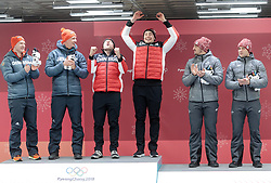 19.02.2018, Olympic Sliding Centre, Pyeongchang, KOR, PyeongChang 2018, Rodeln, Zweisitzer, Herren, Flower Zeremonie, im Bild Francesco Friedrich, Thorsten Margis (GER, 1. Platz), Justin Kripps, Alexander Kopacz (CAN, 1. Platz), Oskars Melbardis, Janis Strenga (LAT, 3. Platz) // gold medalist and Olympic champion Francesco Friedrich Thorsten Margis of Germany an Justin Kripps Alexander Kopacz of Canada bronce medalist Oskars Melbardis Janis Strenga of Latvia during the mens doubles Bobsleigh of the Pyeongchang 2018 Winter Olympic Games at the Olympic Sliding Centre in Pyeongchang, South Korea on 2018/02/19. EXPA Pictures © 2018, PhotoCredit: EXPA/ Johann Groder
