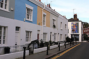 Colourful terraces on Kenway Road in London's Earl's Court area.