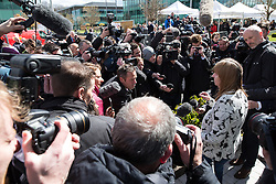 © Licensed to London News Pictures. 26/04/2016. Warrington, UK. MARGARET ASPINALL outside the court after the jury delivers their verdicts at the Hillsborough Inquest, at the coroner's court at Birchwood Park.  Photo credit: Joel Goodman/LNP