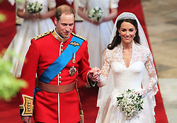 File photo dated 29/04/11 of Prince William and his bride Kate walking down the aisle at Westminster Abbey, London, following their marriage. The Duchess of Cambridge will have spent a decade as an HRH when she and the Duke of Cambridge mark their 10th wedding anniversary on Thursday. Issue date: Wednesday April 28, 2021.