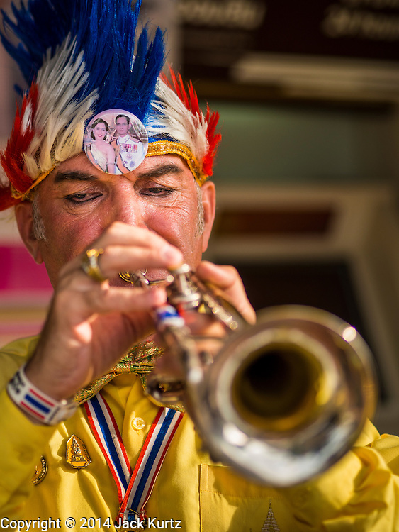 05 DECEMBER 2014 - BANGKOK, THAILAND: KNUTH KLOSE, a German citizen who lives in Thailand, plays his trumpet in honor of Bhumibol Adulyadej, the King of Thailand, during birthday celebrations for the King. He has a picture of the King and Queen on his head. Thais marked the 87th birthday of Bhumibol Adulyadej, the King of Thailand, Friday. The revered Monarch was scheduled to make a rare public appearance in the Grand Palace but cancelled at the last minute on the instructions of his doctors. He has been hospitalized in Siriraj Hospital, across the Chao Phraya River from the Palace, since early October.    PHOTO BY JACK KURTZ