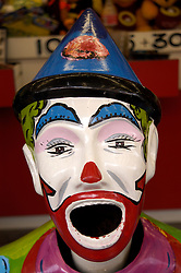 Detail of ball throwing game in shape of clown s head at funfair in Australia