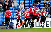 Photo: Leigh Quinnell.<br /> Reading v Sheffield United. Coca Cola Championship.<br /> 01/10/2005. Steven Kabba celebrates his goal for Sheffield United with his team mates.