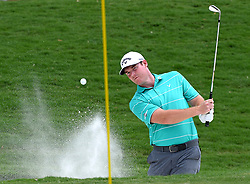 Grayson Murray hits out of a sand trap at the 18th green during first round action of the PGA Championship at Quail Hollow Club Thursday, Aug. 10, 2017 in Charlotte, N.C. (Photo by Jeff Siner/Charlotte Observer/TNS/Sipa USA)  *** Please Use Credit from Credit Field ***